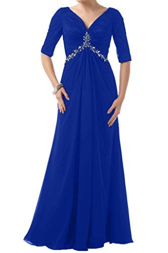 Festkleid Halb Royalblau Brautbegleiterinkleid V Ivydressing Abendkleid Aermel Damen Lang Ausschnitt Steine Chiffon 11IR8WcTq