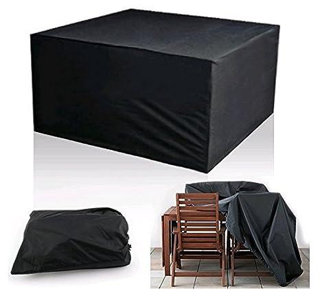 Ciaoed Gartenmobel Schutzhulle Abdeckplane Fur Rechteckige Tisch Sitzgruppe Sitzgarnituren Schwarz 123 X 123 X 74cm