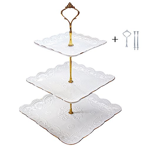 3 Tier Serving Tray Platter 2 Tiered Cake Stand Pastry Dessert Trays Cupcake Stands White Porcelain Tea for Wedding Birthday Parties