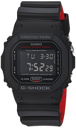 Casio Men's G Shock Quartz Watch with Resin Strap, Black, 25 (Model: DW-5600HR-1CR)