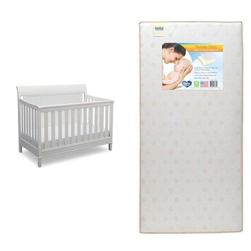 Delta Children New Haven 4-in-1 Convertible Crib, Bianca (White) with Twinkle Stars Crib & Toddler Mattress