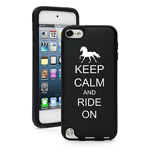 For Apple iPod Touch 5th / 6th Generation Aluminum & Silicone Hard Case Cover Keep Calm and Ride On Horse (Black)
