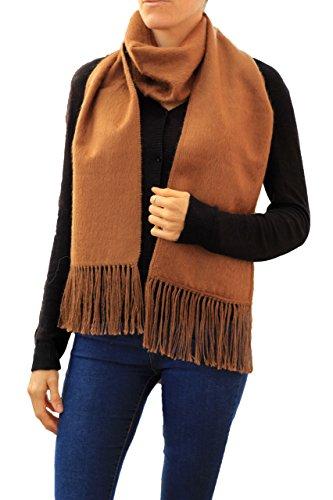 TINKUY PERU - 100% Peruvian Alpaca Wool - Unisex Woven Fringes Brushed Scarf - Brushed Wool Scarf
