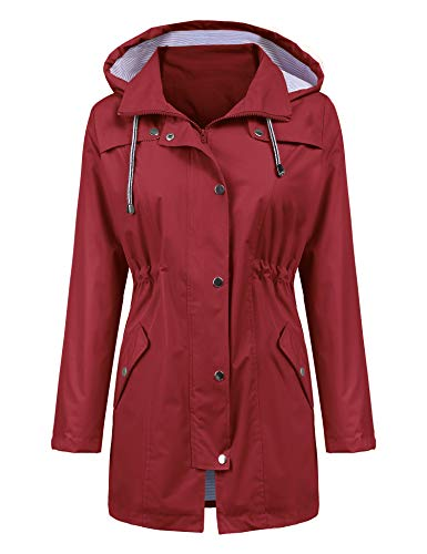 LOMON Raincoat Women Waterproof Long Hooded Trench Coats Lined Windbreaker Travel Jacket Wine Red M