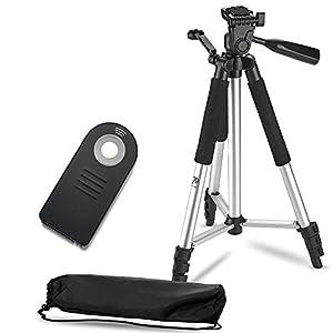 Lightweight Aluminum Camera Tripod + Remote Shutter Release for Nikon (4 Piece Set)