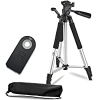 57 Inch Lightweight Aluminum Camera Tripod + Remote Shutter Release for Nikon (4 Piece Set)