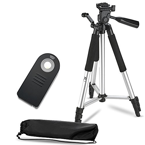 57″ Inch Lightweight Aluminum Camera Tripod + Remote Shutter Release for Nikon (4 Piece Set)