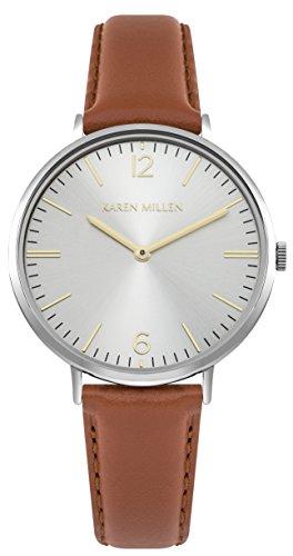 Karen Millen Women's Quartz Watch with Leather Strap, Brown, 15 (Model: KM163T)