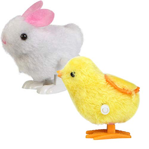 (AckfulNew Infant Child Toys Hopping Wind Up Easter Chick and Bunny )