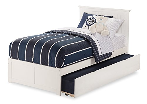 Nantucket Bed with Flat Panel Foot Board and Urban Trundle, Twin, White (White Bed Panel Twin)