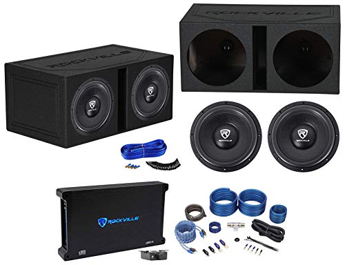(2) Rockville W12K6D2 V2 12″ 4800w Subwoofers+Vented Box+Mono Amplifier+Amp Kit