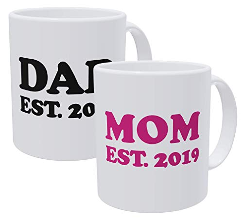 Willcallyou Pack Of 2 Mom and Dad Est 2019 Established 11 Ounces Funny Coffee Mug (Best Gifts For Dad 2019)