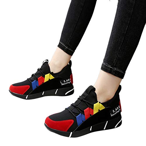 Womens Faux Leather Lace Up Platform Wedges Walking Sneakers Sports Shoes by Lowprofile Red
