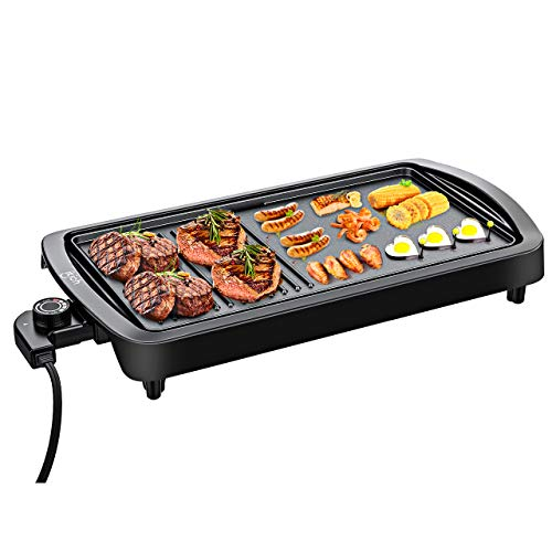 - 1600W Powerful Electric Griddle, IKICH Enhanced Nonstick Electric Grill Pan 2-in-1 Smokeless, Family-Sized Electric BBQ Griddle with Adjustable Temperature & Drip Tray for Indoor, Outdoor, Camping