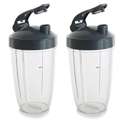 24 oz Cups For NutriBullet Blender w/ Leak Flip To Go Lid. Dishwasher Safe & BPA-free NutriBullet Replacement Cups Fit NutriBullet 600 Watt and NutriBullet Pro 900 series (Pack of 2) by KatelPro