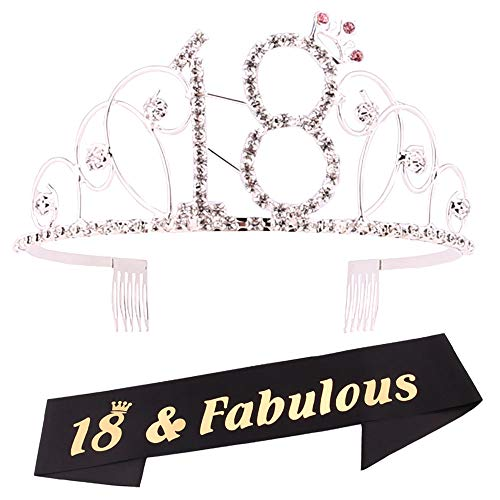 18th Birthday Tiara and Sash, 18th Birthday Crown and Sash, for 18th Birthday Party Supplies (Silver)]()