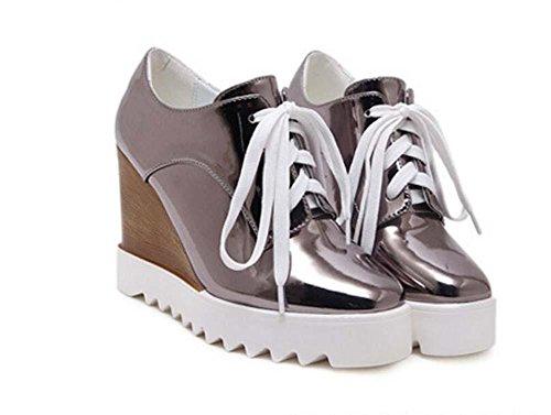 delle scarpe a Moda Scarpe Formato Cuneo Signora Pelle muffin gray Scarpe Spessa Semplice Tacchi Onfly Piattaforma Lacci casual Pompe Eu da 40 35 wqWPnFf