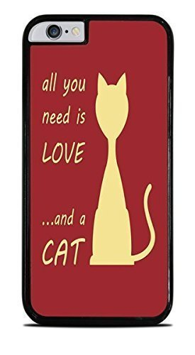 [All You Need Is Love and A CAT Red Background Black Hardshell Case Cover For Apple Iphone 6 Plus 5.5 Inch )] (Hardshell Gloss)
