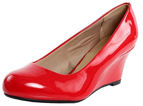 - Forever Link Women's DORIS-22 Patent Round Toe Wedge Pumps Red 8.5