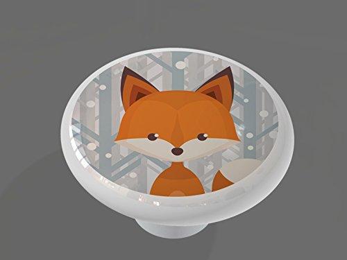 Winter Woodland Fox High Gloss Ceramic Drawer Knob
