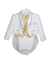 Dressy Daisy Baby Boys' Jacquard Vest 5 Pieces Formal Tuxedo Suit With Tail Christening Outfit Size 18-24 Months White Gold