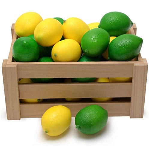 BigOtters Fake Lemons, Faux Limes Plastic Artificial Lemon for Home Kitchen Table Cabinet Party Decor Photography Prop