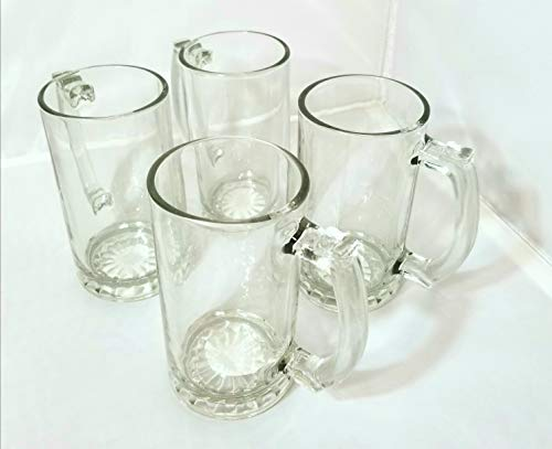 Stein Glass Beer Mugs with Handle ~16 oz~ (Set of 4)