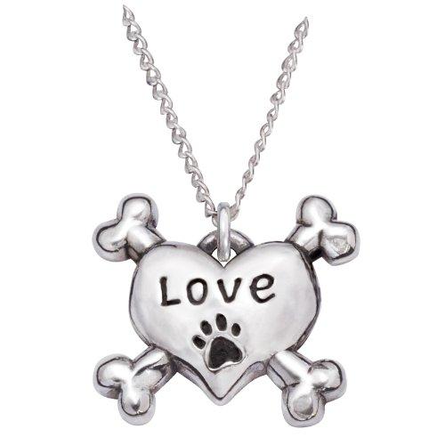 Rockin' Doggie Sterling Silver Necklace, Love Heart/Cross Bones by Rockin Doggie