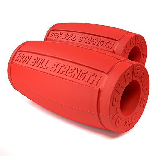 Alpha Grips 2.5 - Extreme Arm Blaster - Best Dumbbell and Barbell Thick Bar Adapter (Red)