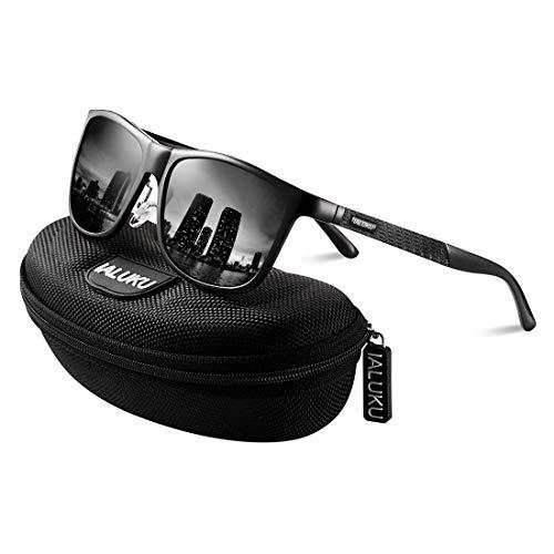 IALUKU Retro Driving Polarized Sunglasses for Men Square Metal Frame UV Protection (Black/Grey, ()