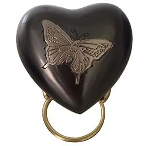 Mini Memorias conmemorativas del recuerdo del corazón, Mariposa del estaño Recuerdo del recuerdo Urna funeraria con el soporte y la Caja de terciopelo