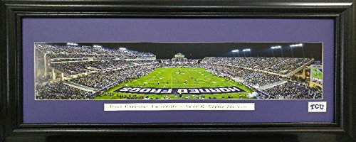 Framed Sports art Amon Carter Stadium Texas Christian University Print with Single Mat under Glass Interior Size 16x40 Exterior Size 22x46 by samscustomframing.com