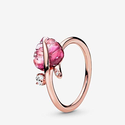 PANDORA Pink Murano Glass Leaf PANDORA Rose Ring, Size: EUR-54, US-7-188319PMU-54 (Authentic Pandora Murano)