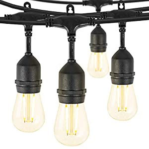 48 Feet LED Outdoor String Lights, Waterproof Patio Lights with 15 Shatterproof Bulbs, Commercial Hanging Lights for…