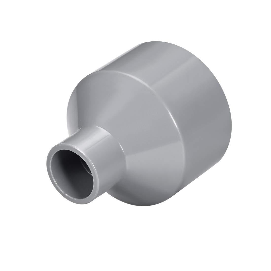 sourcing map Acoplamiento reductor de PVC de cubo por cubo de 50mm x 40mm Adaptador de tuber/ía DWV Gris 2uds