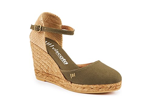 inch Strap Espadrilles VISCATA Toe in Closed Spain Green Satuna Made 3 Classic Heel Cactus with Ankle YYrqzE