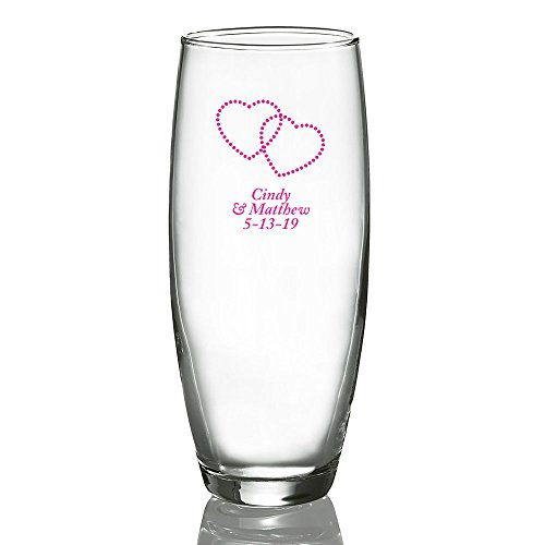 Personalized Color Printed Stemless Champagne Glass - Dotted Hearts - Fuchsia - 48 pack
