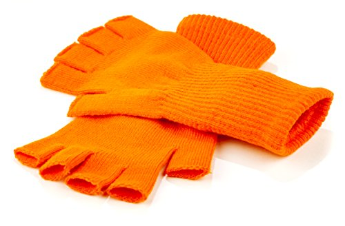Funny Guy Mugs Warm Stretchy Knit Fingerless Gloves for Women and Men, Orange, One Size Fits Most]()