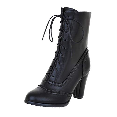 Sunmoot Women Classic Lace Up Square Heeled Pointed Toe Leather Ankle Boot Black