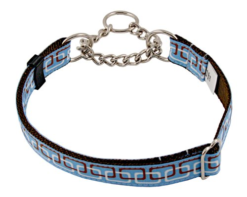 Country Brook Design Linkz Grosgrain Ribbon Half Check Dog Collar - Extra Large