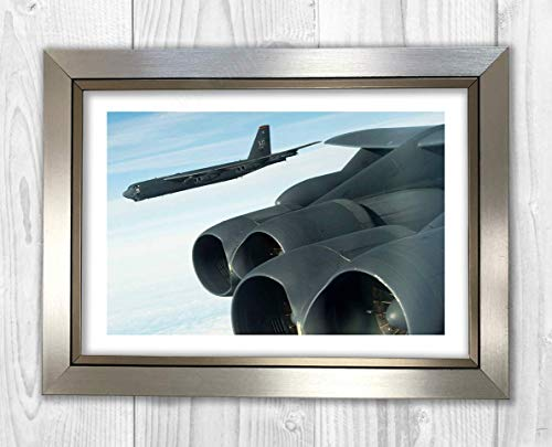 Engravia Digital B-52 Stratofortress of The 5th Bomb Wing from Minot, AGFB, North Dakota Reproduction Poster Photo A4 Print(Silver Frame)