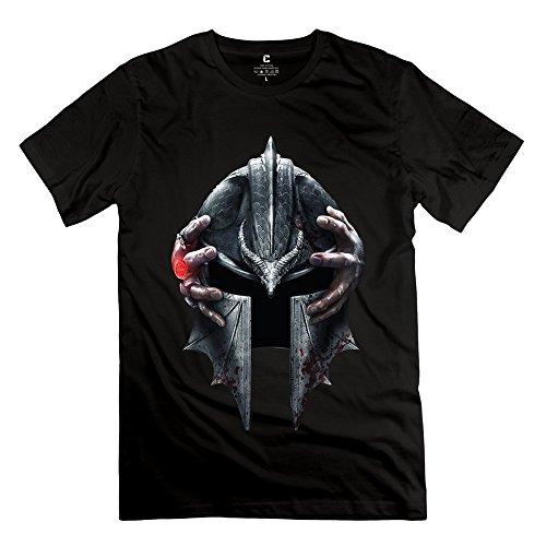 TGRJ Men's Tshirt - Funny Dragon Age Helmet Black Size S