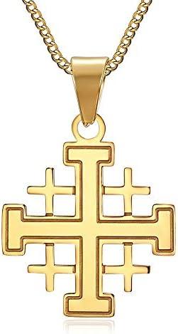 BOBIJOO JEWELRY - Anhänger, Mann-Templer-Orden Kreuz von Jerusalem Stahl Vergoldet Gold Kette