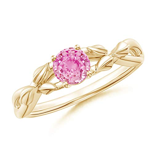 Nature Inspired Pink Sapphire Crossover Ring with Leaf Motifs in 14K Yellow Gold (5mm Pink Sapphire)