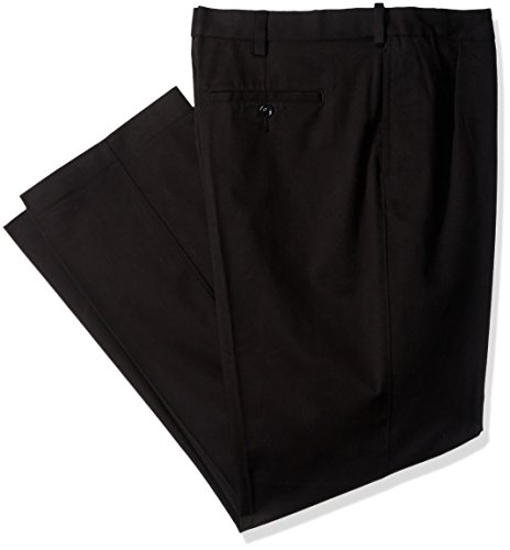 Savane Men's Pleated Stretch Ultimate Performance Chino, Black, 42W x 32L ()