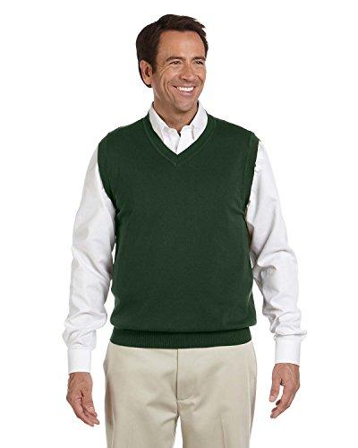 (Devon & Jones Men's Full Fashioning Lighter Weight V Neck Vest, FOREST, X-Small)