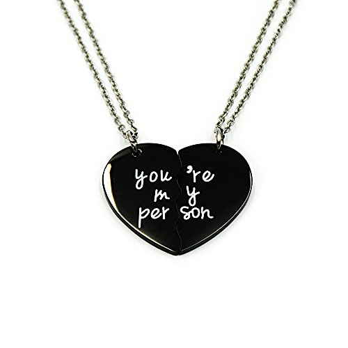 500ae8ace9 Azfly You're My Person Broken Two Half Heart Pendant Necklace Lover Couples  Best Friends BFF Necklaces Gifts for 2
