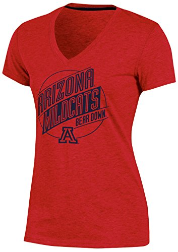 Ncaa Arizona Wildcats Womens Poly  V Neck T Shirt  Large  Red Heather
