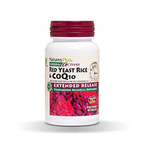 - Natures Plus Herbal Actives Red Yeast Rice 600mg and CoQ10 100mg -30 Vegan Tablets, Extended Release - Maximum Potency Supplement, Antioxidant - Vegetarian, Gluten Free - 30 Servings