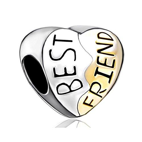 Uniqueen Best Friend Friendship Heart Silver Charms Fit Charm Bracelet